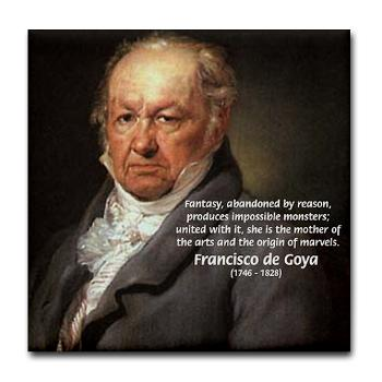famous quotes which is called Goya Fantasy Monster Quote Tile Coaster